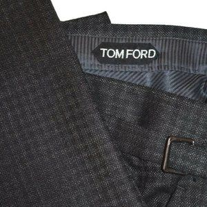 NWT $1495 Tom Ford SILK/Wool Charcoal Gray PANTS